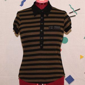 Vexy black and green striped polo